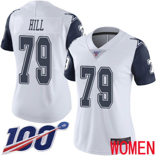 Women Dallas Cowboys Limited White Trysten Hill 79 100th Season Rush Vapor Untouchable NFL Jersey