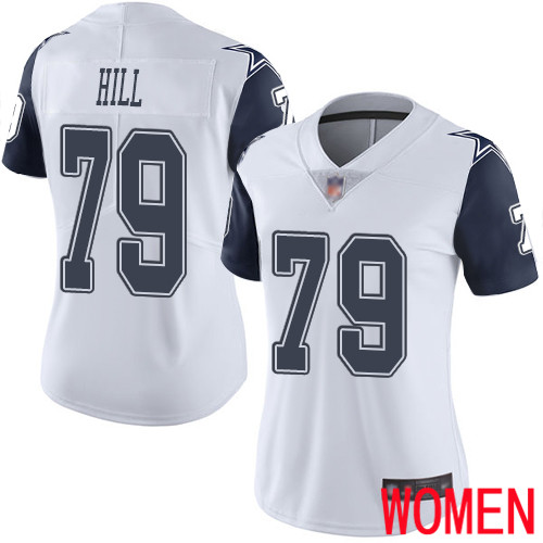 Women Dallas Cowboys Limited White Trysten Hill 79 Rush Vapor Untouchable NFL Jersey