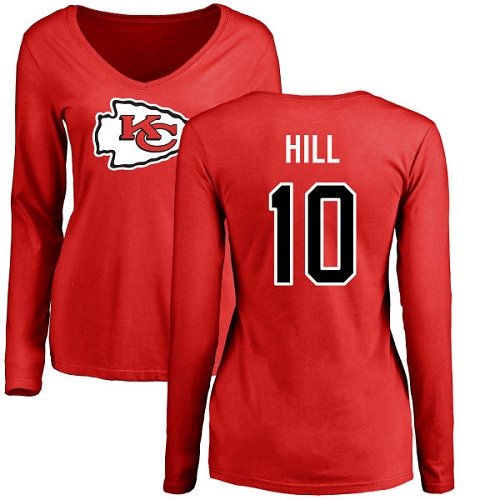Women Football Kansas City Chiefs 10 Hill Tyreek Red Name and Number Logo Slim Fit Long Sleeve T-Shirt