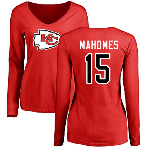 Women Football Kansas City Chiefs 15 Mahomes Patrick Red Name and Number Logo Slim Fit Long Sleeve T-Shirt