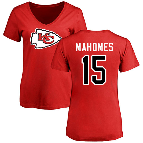 Women Football Kansas City Chiefs 15 Mahomes Patrick Red Name and Number Logo Slim Fit T-Shirt