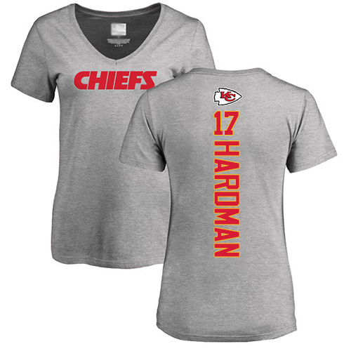 Women Football Kansas City Chiefs 17 Hardman Mecole Ash Backer V-Neck T-Shirt