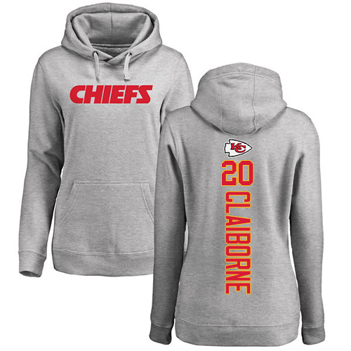 Women Football Kansas City Chiefs 20 Claiborne Morris Ash Backer Pullover Hoodie