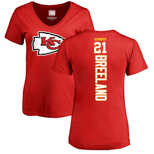 Women Football Kansas City Chiefs 21 Breeland Bashaud Red Backer T-Shirt