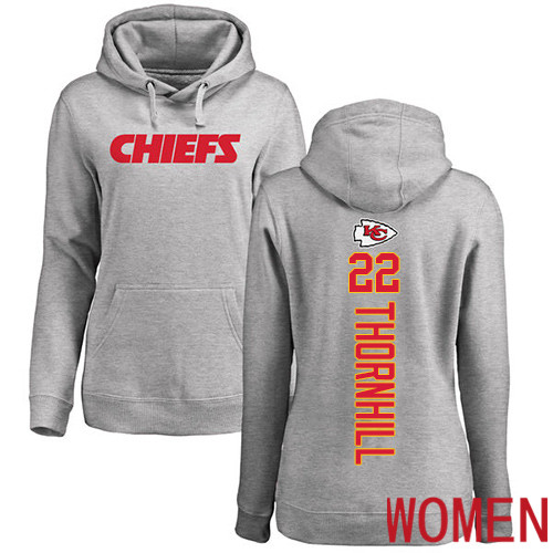 Women Football Kansas City Chiefs 22 Thornhill Juan Ash Backer Pullover Hoodie