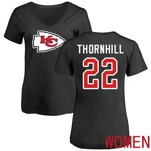 Women Football Kansas City Chiefs 22 Thornhill Juan Black Name and Number Logo Slim Fit T-Shirt