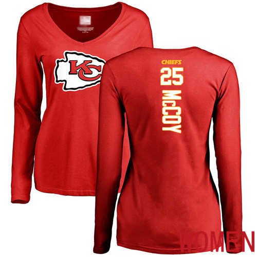 Women Football Kansas City Chiefs 25 McCoy LeSean Red Backer Slim Fit Long Sleeve T-Shirt