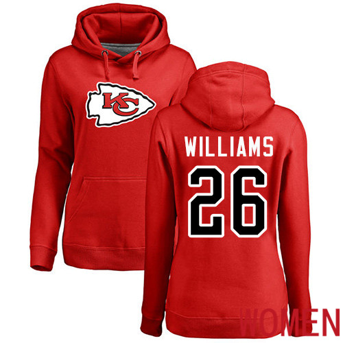 Women Football Kansas City Chiefs 26 Williams Damien Red Name and Number Logo Pullover Hoodie