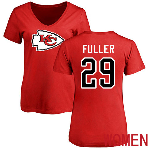 Women Football Kansas City Chiefs 29 Fuller Kendall Red Name and Number Logo Slim Fit T-Shirt