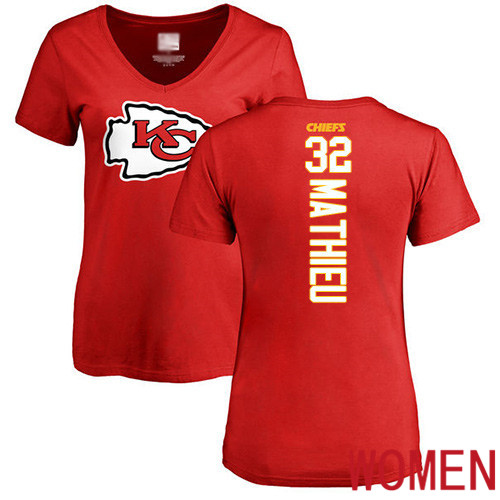 Women Football Kansas City Chiefs 32 Mathieu Tyrann Red Backer T-Shirt