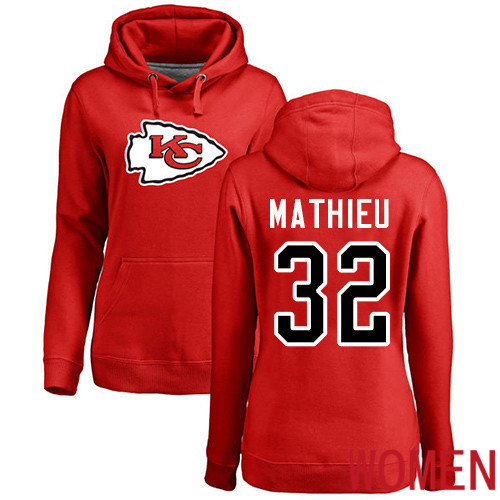 Women Football Kansas City Chiefs 32 Mathieu Tyrann Red Name and Number Logo Pullover Hoodie