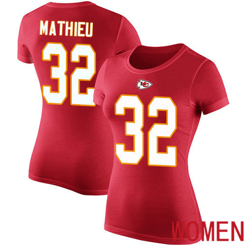 Women Football Kansas City Chiefs 32 Mathieu Tyrann Red Rush Pride Name and Number T-Shirt