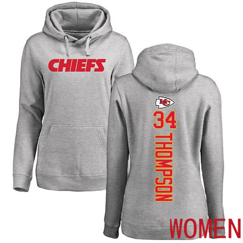 Women Football Kansas City Chiefs 34 Thompson Darwin Ash Backer Pullover Hoodie