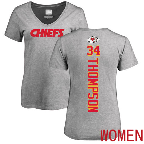 Women Football Kansas City Chiefs 34 Thompson Darwin Ash Backer V-Neck T-Shirt