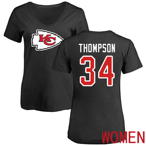 Women Football Kansas City Chiefs 34 Thompson Darwin Black Name and Number Logo Slim Fit T-Shirt