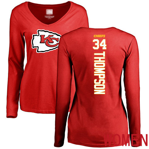 Women Football Kansas City Chiefs 34 Thompson Darwin Red Backer Slim Fit Long Sleeve T-Shirt