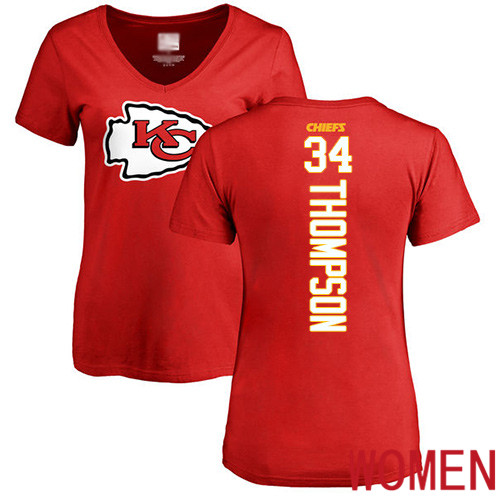 Women Football Kansas City Chiefs 34 Thompson Darwin Red Backer T-Shirt
