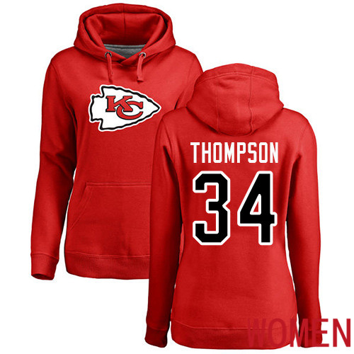 Women Football Kansas City Chiefs 34 Thompson Darwin Red Name and Number Logo Pullover Hoodie