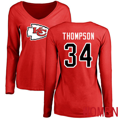 Women Football Kansas City Chiefs 34 Thompson Darwin Red Name and Number Logo Slim Fit Long Sleeve T-Shirt