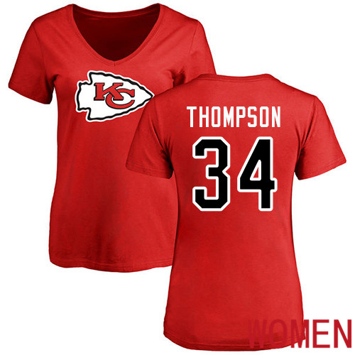 Women Football Kansas City Chiefs 34 Thompson Darwin Red Name and Number Logo Slim Fit T-Shirt