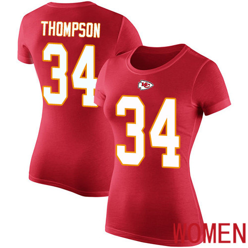 Women Football Kansas City Chiefs 34 Thompson Darwin Red Rush Pride Name and Number T-Shirt