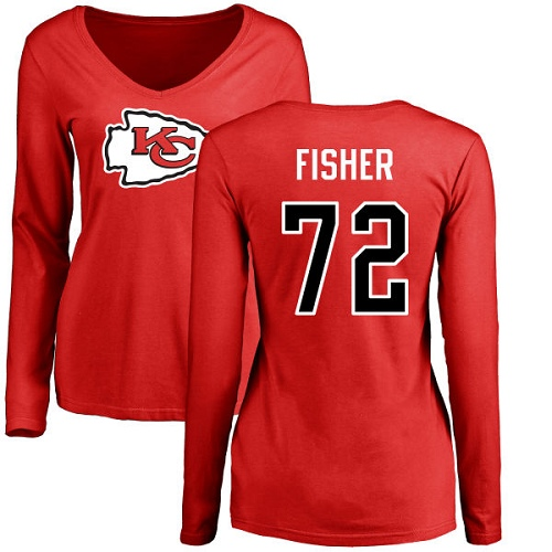 Women Football Kansas City Chiefs 72 Fisher Eric Red Name and Number Logo Slim Fit Long Sleeve T-Shirt
