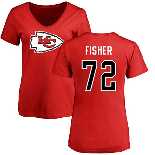 Women Football Kansas City Chiefs 72 Fisher Eric Red Name and Number Logo Slim Fit T-Shirt