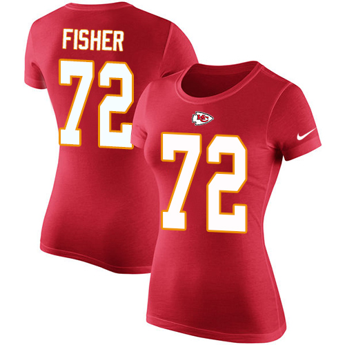 Women Football Kansas City Chiefs 72 Fisher Eric Red Rush Pride Name and Number T-Shirt