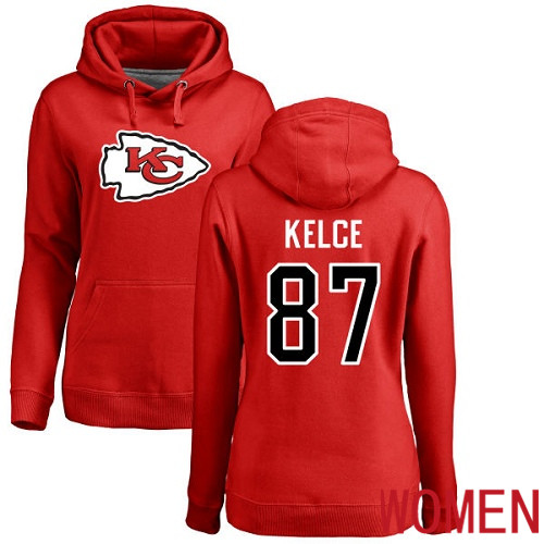 Women Football Kansas City Chiefs 87 Kelce Travis Red Name and Number Logo Pullover Hoodie