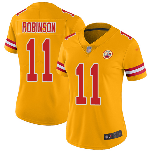 Women Kansas City Chiefs 11 Robinson Demarcus Limited Gold Inverted Legend Football Nike NFL Jersey