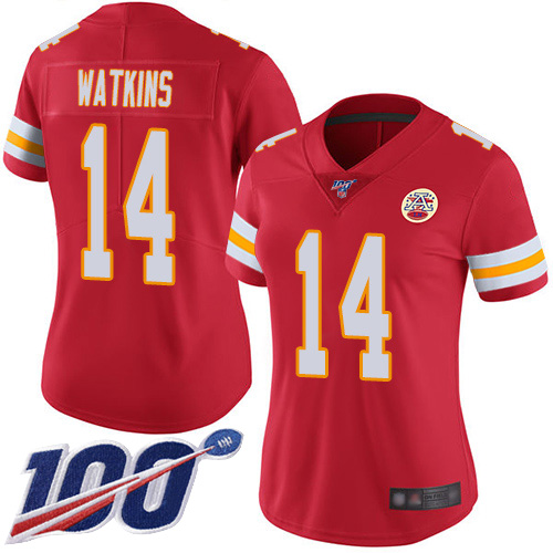 Women Kansas City Chiefs 14 Watkins Sammy Red Team Color Vapor Untouchable Limited Player 100th Season Football Nike NFL Jersey