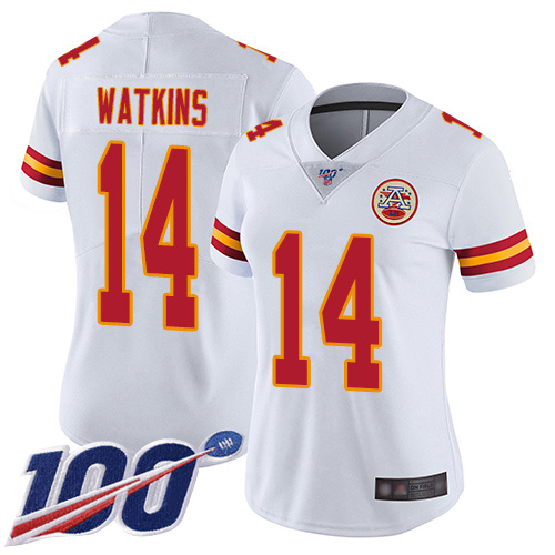 Women Kansas City Chiefs 14 Watkins Sammy White Vapor Untouchable Limited Player 100th Season Football Nike NFL Jersey