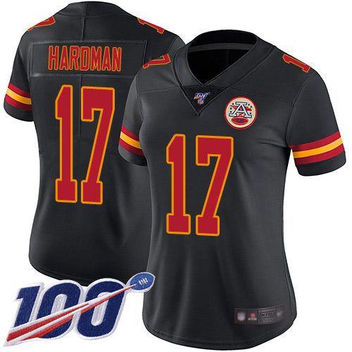 Women Kansas City Chiefs 17 Hardman Mecole Limited Black Rush Vapor Untouchable 100th Season Football Nike NFL Jersey