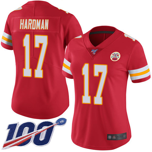 Women Kansas City Chiefs 17 Hardman Mecole Red Team Color Vapor Untouchable Limited Player 100th Season Football Nike NFL Jersey