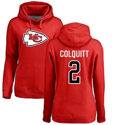 Women Kansas City Chiefs 2 Colquitt Dustin Red Name and Number Logo Pullover Hoodie
