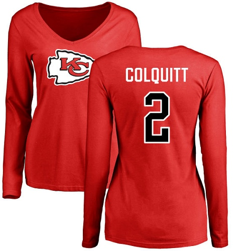 Women Kansas City Chiefs 2 Colquitt Dustin Red Name and Number Logo Slim Fit Long Sleeve TShirt