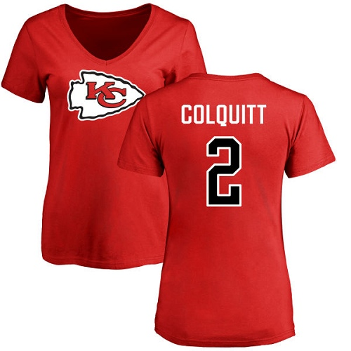 Women Kansas City Chiefs 2 Colquitt Dustin Red Name and Number Logo Slim Fit TShirt