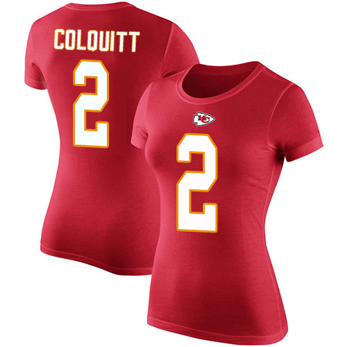 Women Kansas City Chiefs 2 Colquitt Dustin Red Rush Pride Name and Number TShirt