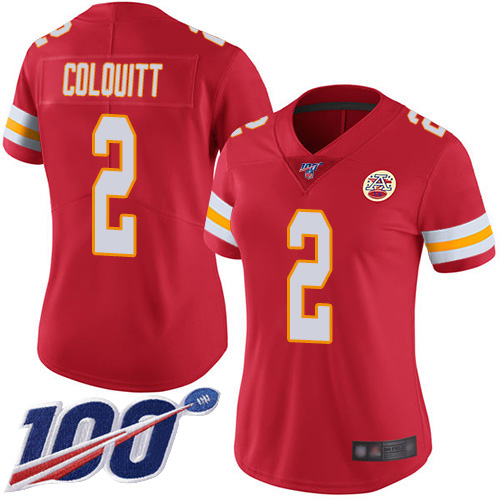 Women Kansas City Chiefs 2 Colquitt Dustin Red Team Color Vapor Untouchable Limited Player 100th Season Football Nike NFL Jersey
