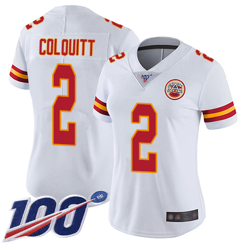 Women Kansas City Chiefs 2 Colquitt Dustin White Vapor Untouchable Limited Player 100th Season Football Nike NFL Jersey