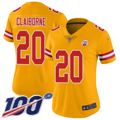 Women Kansas City Chiefs 20 Claiborne Morris Limited Gold Inverted Legend 100th Season Football Nike NFL Jersey