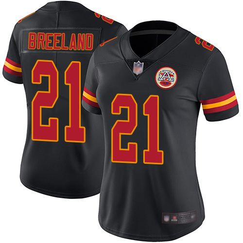 Women Kansas City Chiefs 21 Breeland Bashaud Limited Black Rush Vapor Untouchable Football Nike NFL Jersey