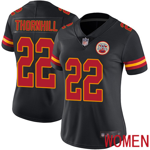 Women Kansas City Chiefs 22 Thornhill Juan Limited Black Rush Vapor Untouchable Football Nike NFL Jersey