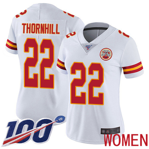 Women Kansas City Chiefs 22 Thornhill Juan White Vapor Untouchable Limited Player 100th Season Football Nike NFL Jersey
