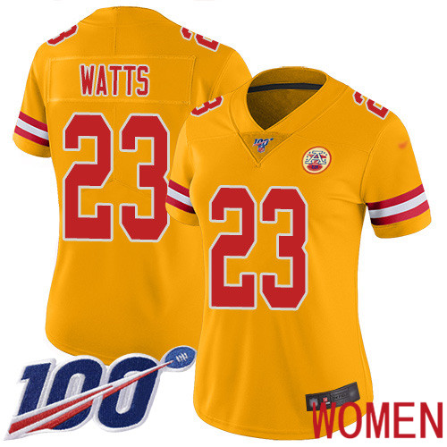 Women Kansas City Chiefs 23 Watts Armani Limited Gold Inverted Legend 100th Season Football Nike NFL Jersey