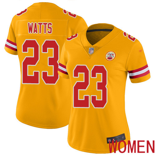 Women Kansas City Chiefs 23 Watts Armani Limited Gold Inverted Legend Football Nike NFL Jersey