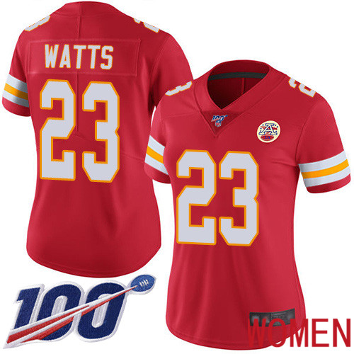 Women Kansas City Chiefs 23 Watts Armani Red Team Color Vapor Untouchable Limited Player 100th Season Football Nike NFL Jersey