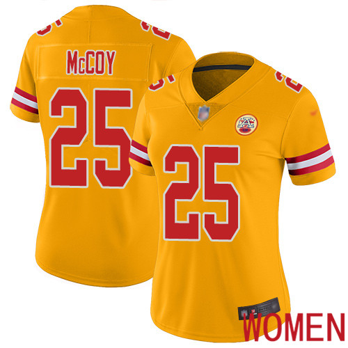 Women Kansas City Chiefs 25 McCoy LeSean Limited Gold Inverted Legend Football Nike NFL Jersey