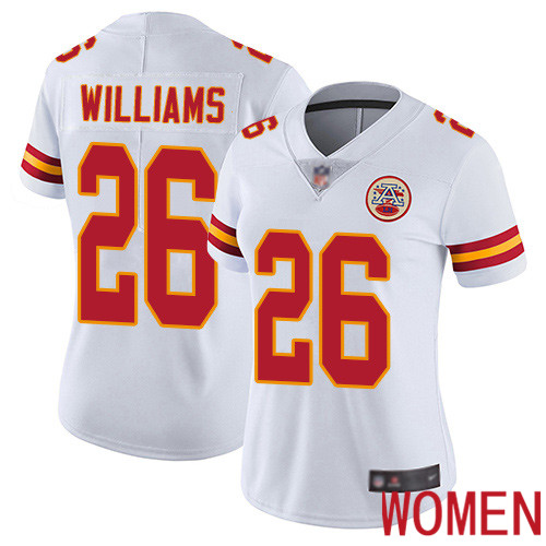 Women Kansas City Chiefs 26 Williams Damien White Vapor Untouchable Limited Player Football Nike NFL Jersey