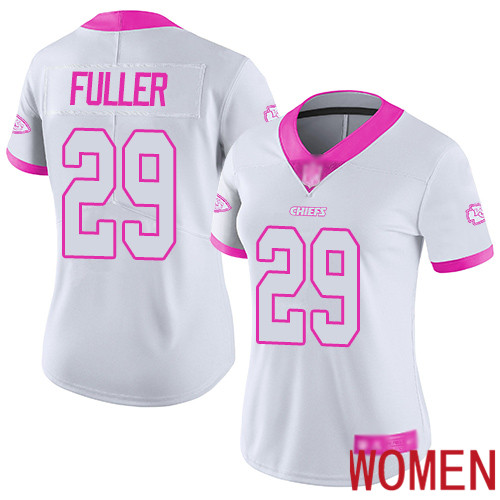 Women Kansas City Chiefs 29 Fuller Kendall Limited White Pink Rush Fashion Football Nike NFL Jersey